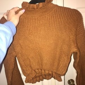 Rustic brown cropped sweater from fashion nova